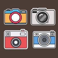 Kameran platt stil klistermärken vektor