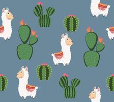 Söt rolig alpakka med kaktusmönster vektor