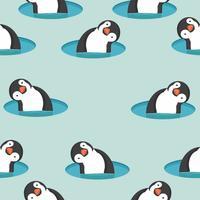 Pingviner i vattenmönster vektor