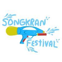 Songkran-Festival mit flachem Vektorillustrator des Wasserwerfers