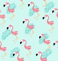 Söt rosa flamingo fågelvektormönster vektor