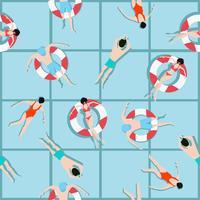 Folk som simmar mönster och sommarbakgrund