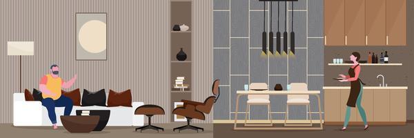 Paar Romantik Modernes Interieur des Wohnzimmers.