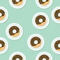 Donut auf weißem Plattenmuster vektor