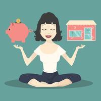 Meditierendes Konzept mit Sparschwein und Shop