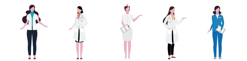 Flacher Charakter des Krankenhaus-Frauen-Personal-Satzes vektor