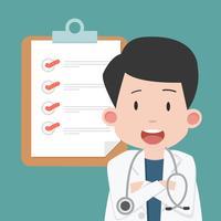 Doktor Man mit Klemmbrett und Checkliste
