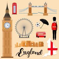 Touristische England-Reisesatzsammlung vektor