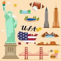 Touristische USA-Reisesatzsammlung des Vereinigten Staaten von Amerika vektor
