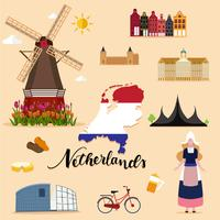 Touristische Niederlande Travel Set Sammlung