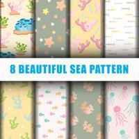 8 Schöne Meer Muster Hintergrund Set vektor