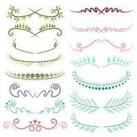 Reihe von Strichzeichnungen dekorative Elemente. Vektor