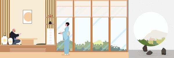Japan Zen vardagsrum platt design