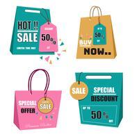 Modern origami försäljning etikett och etiketter vektor samling