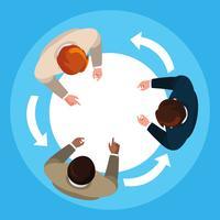 Visa antenn av affärsmän elegant i möte
