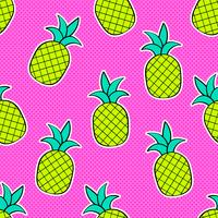 Ananas Pop Art Vector sömlös bakgrund