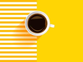 Realistischer weißer Tasse Kaffee auf gelbem Hintergrund vektor