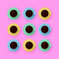 Färgade kaffekoppar Pop Bakgrund
