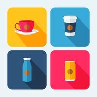 Getränke-Icon-Set mit Schatten vektor