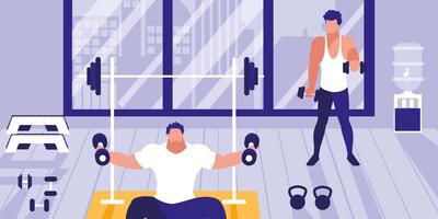 junge Männer, die Hanteln im Fitnessstudio heben vektor