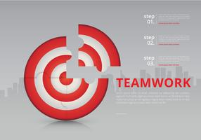 På målutskärning Samarbeta mål Infographic vektor