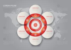 Arbeiten Sie Ziele Vin Diagram Target Infographic zusammen vektor