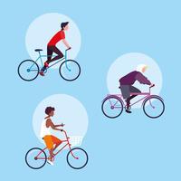 grupp av ung man ridning cykel avatar karaktär vektor