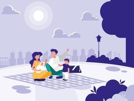 söt familj i park med picknick vektor