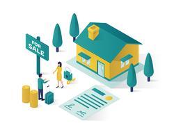 Immobilien isometrische Illustration Vektorgrafik