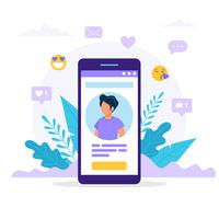 Profilen för sociala medier för smartphone. vektor