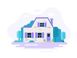 Hus med trädgård. vektor
