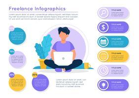 Freiberufliche Infografiken. Mann mit einem Laptop, bunte Elemente der verschiedenen Daten. Vektorillustrationsschablone in der flachen Art