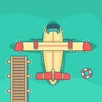 Gelbes und rotes Wasserflugzeug angehalten nahe den Docks vektor