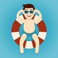 Mann, der mit Rettungsgürtel, Sommerzeit sich entspannt vektor