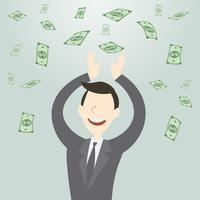 Glücklicher Geschäftsmann, der viel Geld erhält vektor