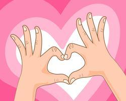 hand att göra hjärta tecken