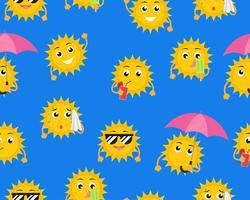 Sun-Cartoon-Muster vektor