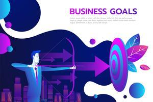 Framgångsrik affärsman håller pilen i handen - prestationsmål.