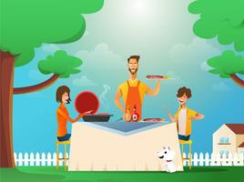 Familie, die draußen isst