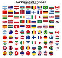 Samling av flaggor, mest populära världsflaggor