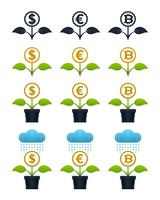 Abstrakte wachsende Blumen mit Währungen