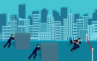 Geschäftsmannwettbewerb schieben die Hindernisse