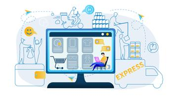 Mannen producerar shopping online vektor