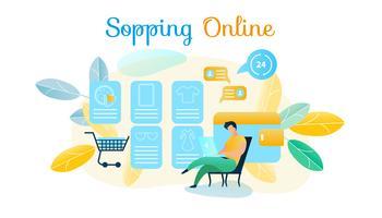 Mann produziert Online-Shopping vektor