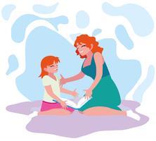 Mutter und Tochter lesen vektor