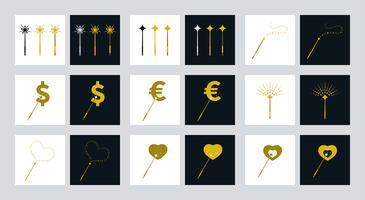Zauberstäbe Symbole mit verschiedenen Themen vektor