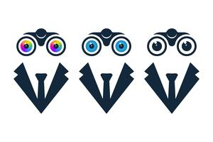 Affärsmanikoner med kikare vektor