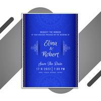 Blå bröllopinbjudan vektor