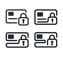 Umriss Kreditkarte Symbole mit Vorhängeschlössern vektor