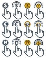 Zeigefinger, die auf Währungen klicken